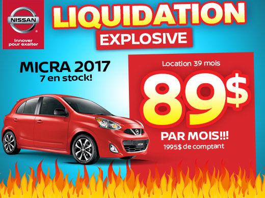 Méga liquidation Micra 2017