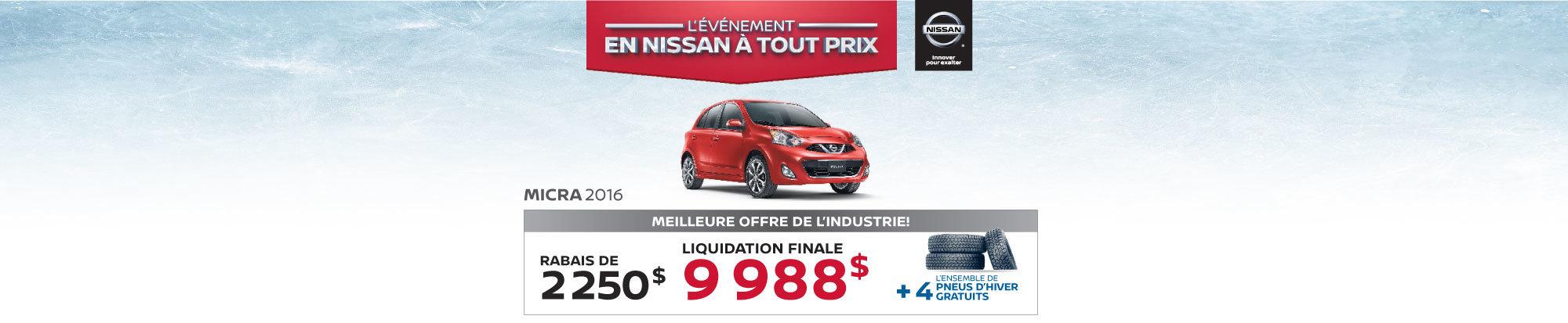 La Nissan Micra 2016 à petits prix