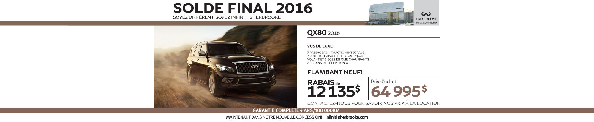 La nouvelle QX80 2016 en rabais