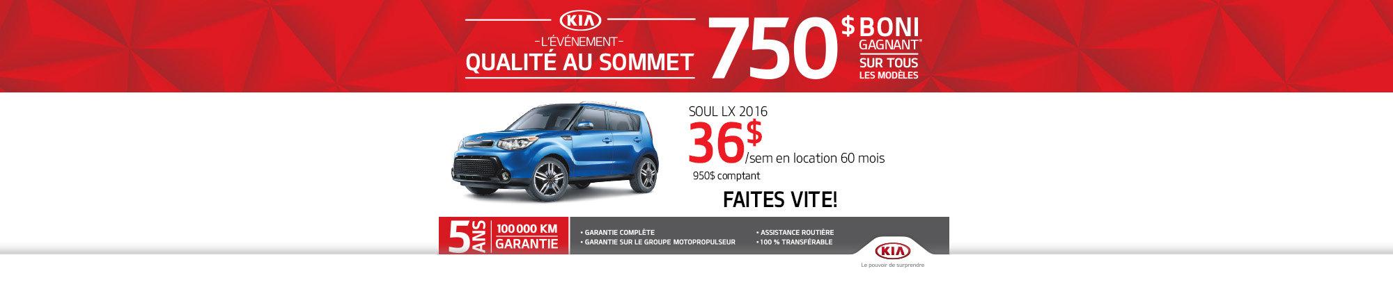 Événement qualité au sommet: Kia Soul SX 2016