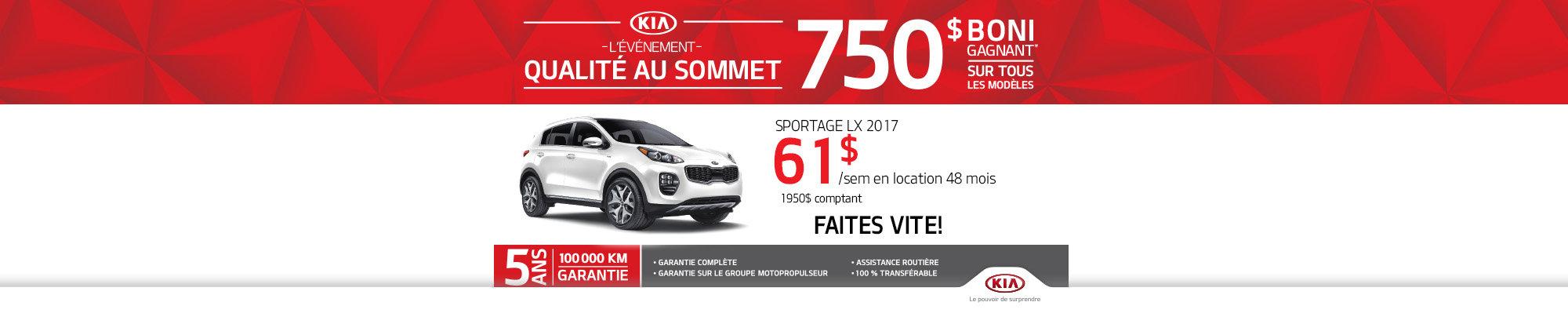 Événement qualité au sommet: Le Kia Sportage 2017