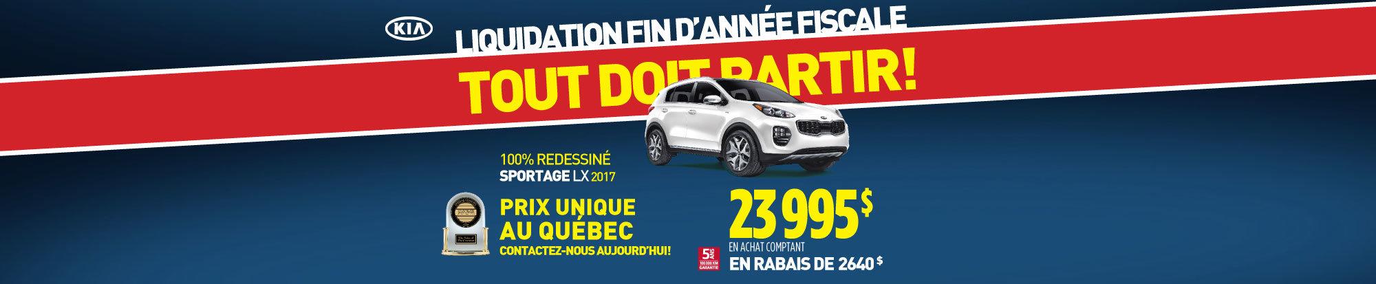 Liquidation de fin d'année:  Le Kia Sportage 2017