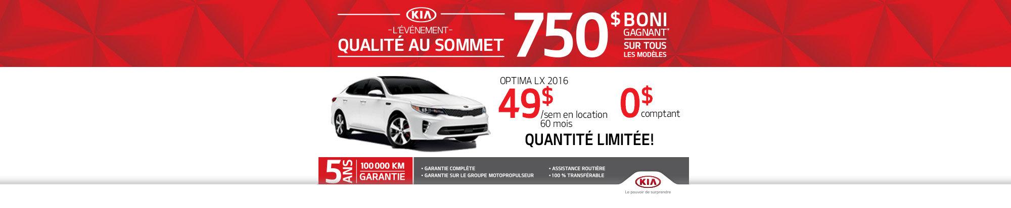 Qualité au sommet Kia: Kia Optima LX 2016