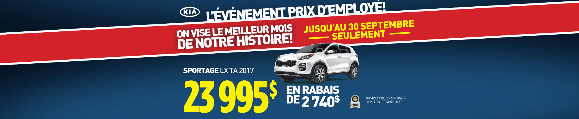 Événement prix employé: Le Kia Sportage 2017
