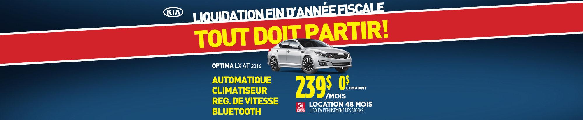 Liquidation fin d'année: Kia Optima LX 2016