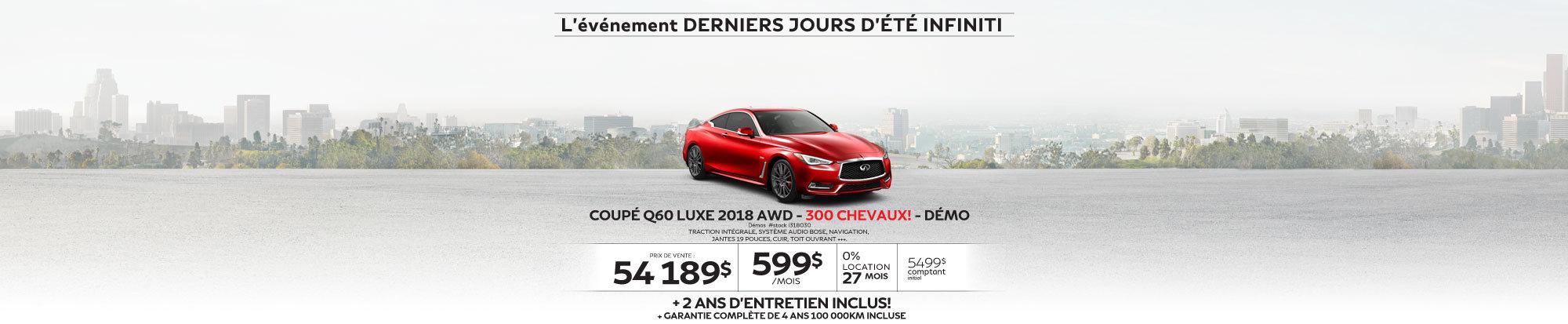 COUPÉ Q60 LUXE 2018 AWD 300 CHEVAUX! Démos web