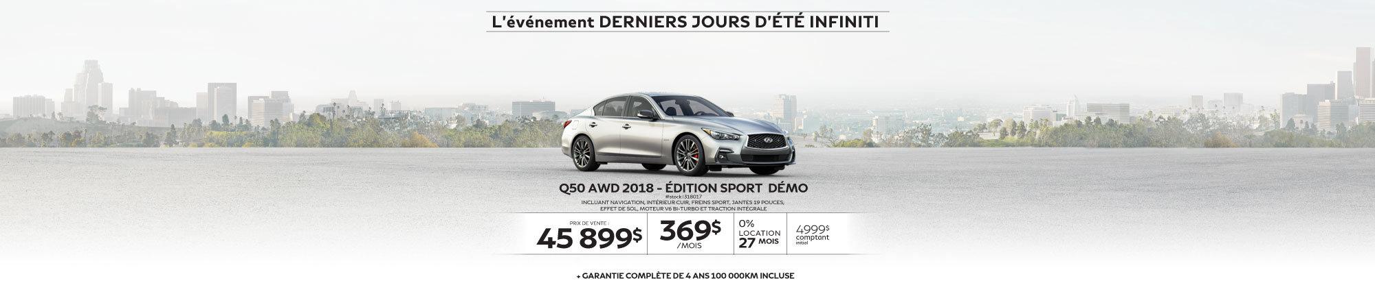 Q50 AWD 2018 – Édition SPORT Démo web