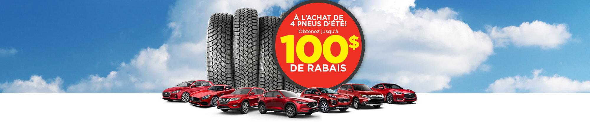 Jusqu'à 100$ de rabais à l'achat de vos pneus d'été! - web