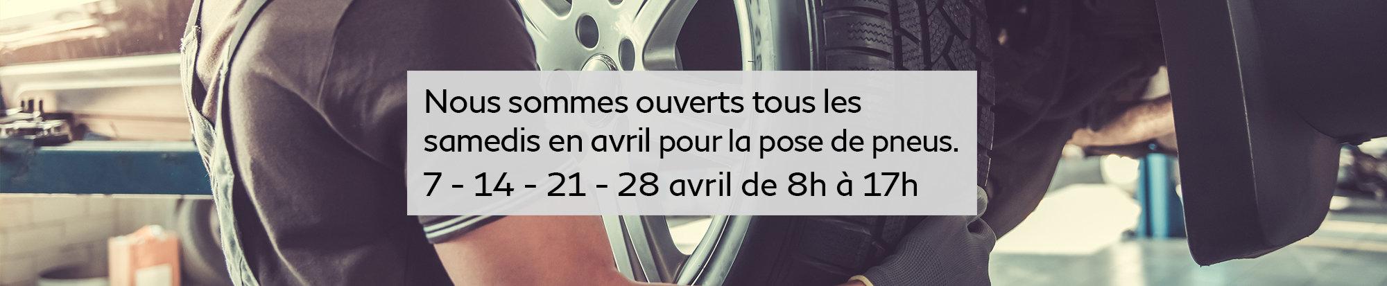 Ouvert tous les samedis d'avril pour la pose de pneus - web