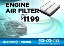 Change your engine air filter from only $11.99 from Kramer Mazda