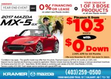 Drive Home in the 2017 Mazda MX-5 GX Today! from Kramer Mazda