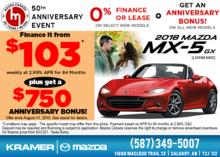 Drive Home a 2018 Mazda MX-5 GX Today! from Kramer Mazda