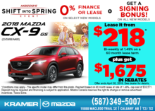 Get the all-new 2018 Mazda CX-9 GS Today! from Kramer Mazda