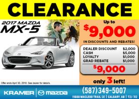 Drive Home a 2017 Mazda MX-5 Today! from Kramer Mazda