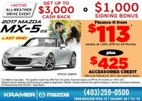 Drive Home in the 2017 Mazda MX-5 GS Today! from Kramer Mazda