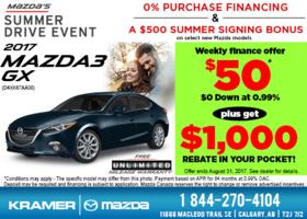 Save Big on the 2017 Mazda3 GX! from Kramer Mazda