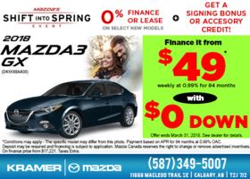Save Big on the 2018 Mazda3 GX! from Kramer Mazda