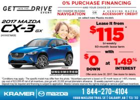 Get the 2017 Mazda CX-3 GX now! from Kramer Mazda
