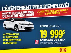 Événement prix employé Kia: Kia Optima LX+AT 2016