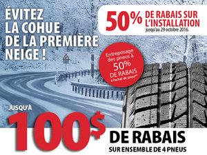 50% de rabais sur l'installation de vos pneus