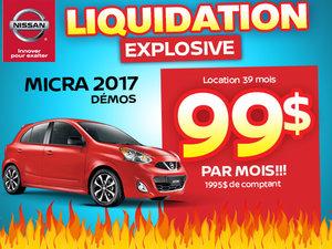 Liquidation explosive Micra 2017 démos