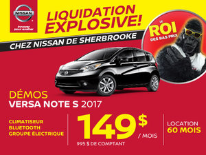 Liquidation explosive démos Versa Note 2017