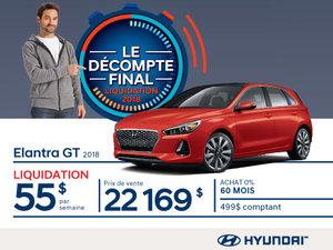 Ne manquez pas le DÉCOMPTE FINAL sur l'Elantra GT 2018 chez Hyundai Magog!