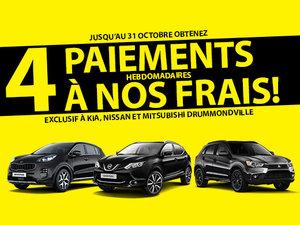 4 paiements gratuits chez Nissan Drummondville