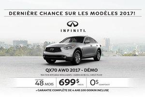 L'Infiniti QX70 2017 démo en rabais