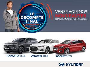 Ne manquez pas le DÉCOMPTE FINAL Hyundai sur nos modèles vedettes