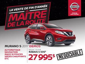 Nissan Murano S 2017 démos en rabais