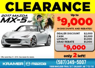 Drive Home a 2017 Mazda MX-5 RF Today! from Kramer Mazda