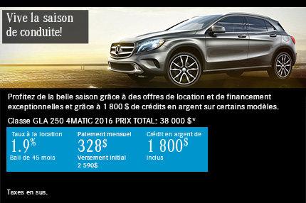 Mercedes-Benz GLA 250 à compter de 328$ par mois