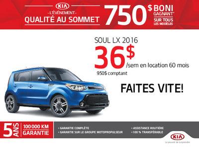 Événement qualité au sommet: Kia Soul LX 2016