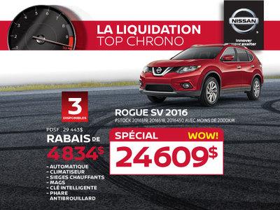 La liquidation top chrono de Nissan - Rogue SV 2016