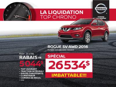 La liquidation top chrono de Nissan - Rogue SV AWD 2016