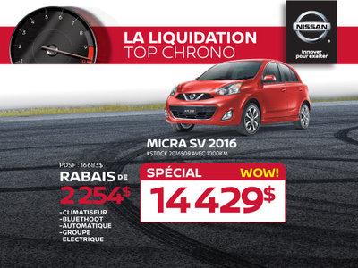 La Nissan Micra SV 2016 à petit prix