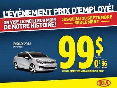 Événement prix d'employé: Kia Rio LX 2016
