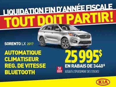 Liquidation de fin d'année: Kia Sorento LX 2017