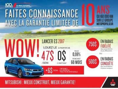 Mitsubishi Lancer ES 2017 en rabais! Drummondville