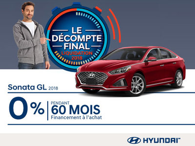 Ne manquez pas le DÉCOMPTE FINAL sur la Sonata 2018 chez Hyundai Magog!