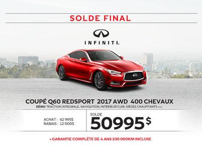COUPÉ Q60 REDSPORT  2017 AWD démos dernier appel … pour le solde 2017!