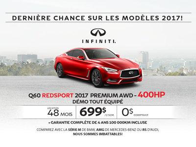 L'Infiniti Q60 3.0L 2017 démo en rabais