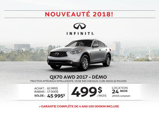 QX70 AWD 2017 démo dernier appel … pour le solde 2017!