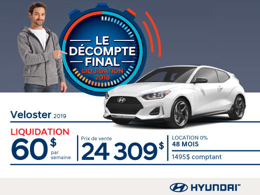 Ne manquez pas le DÉCOMPTE FINAL sur la Veloster 2019 chez Hyundai Magog!